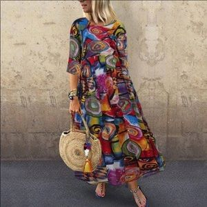 ♥️COLORFUL ABSTRACT LAGENLOOK MAXI DRESS